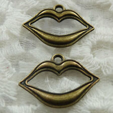 Free Ship 70 pieces bronze plated mouth charms 22x16mm #259