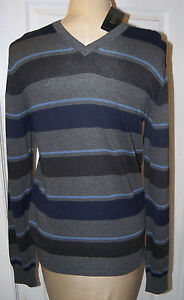 DONNA KARAN DKNY -sz S GRAY &  BLUE LAYERED HANDSOME SWEATER -  - NWT
