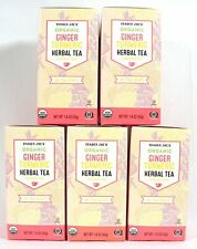 Trader Joe's Organic Ginger Turmeric Herbal Tea Box Caffeine Free Tumeric