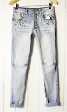 D&F boyfriend CASCANTE jeans pantaloni elasticizzato tg. L USATO strass perle