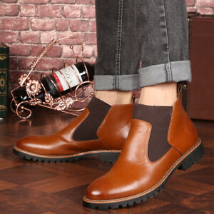 Mens Pu Leather Pointy Toe Casual Ankle Boots Business Party Formal Shoes