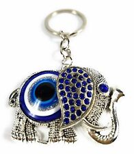 Blue Evil Eye Lucky Elephant Trunk Up Blessing Protection Good Luck Keychain