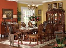 """Dresden 11pc AntiqueStyle 76-108"""" Double Pedestal Dining Table CherryOak w/China"""