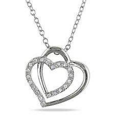 Sterling Silver 1/10 Ct Diamond TW Love Heart Interlock Pendant Necklace I3