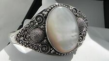 Unique! 42g sterling silver mother of pearl BA 925 fully HM cuff bangle bracelet