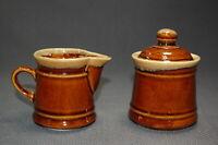 Vintage Brown & Tan Glazed Stoneware Cream & Sugar Set