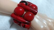 Huge and Chunky Tribal Carved Horn Red and Black Lucite Stretch Bangle Bracelet