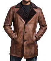 Hugh Jackman X-Men Wolverine Shearling overcoat / Trench Leather Jacket for Men