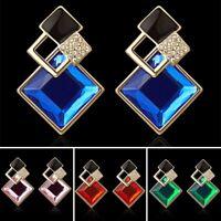 Square Crystal Rhinestone Dangle Ear Stud Earrings Fashion Women Jewellery Gift