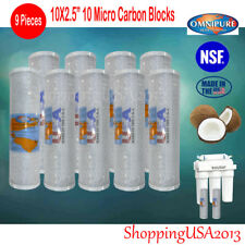 "9 PCS Active Carbon Block Omnipure Ro Water Filter System 10""X2.5"" 10 Micro@"