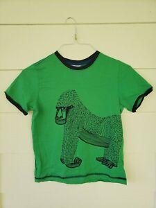 Hanna Andersson Boys Size 140 (US Sz. 10) Short Sleeve T-Shirt Green Gorilla EUC