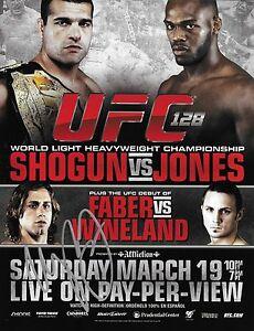 Urijah Faber Signed UFC 128 8.5x11 Poster Debut Photo Shogun vs Jones Autograph