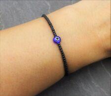 Armband Schwarz Perlen Blaues Auge Evil Eye Nazar Glück Schutz Elastisch Perle