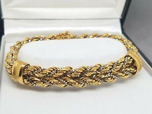 18ct 2 toned Fancy Dress Rope Bracelet Preloved 35.72 grams VAL $7000