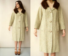 1950's Vintage Wool Princess Swing Coat With Mink Fur Collar Size M/L