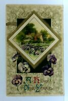 1910 Winsch Happy New Year Cottage Pansies Embossed Vintage Postcard