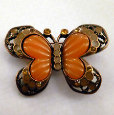 Butterfly Pin Brooch Crystal Vintage Style Orange & Copper Tone Effect - NEW