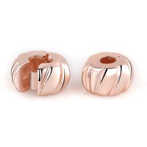 Rose Gold Pumpkin Charm Clip Stopper Bead for European Charm Bracelet