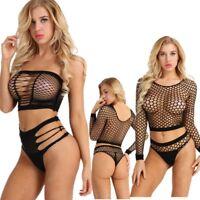 Women Fishnet Swimsuit Bikini Bra Set Push-up Triangle Underwear Brief   Panties