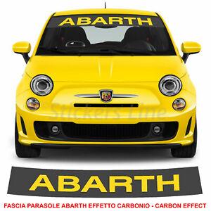 Fascia parasole Fiat 500 ABARTH fondo CARBONIO scritta Gialla adesivo parabrezza