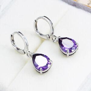UK Purple CZ Earrings Sterling Silver Gift Boxed