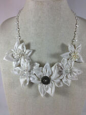 Statement Necklace White Fabric Floral Flower Textile Bridal Handmade Crystal