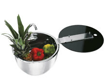 CAN ROUND SINK STAINLESS STEEL BOWL COLD WATER TAP & FOLDING GLASS LID
