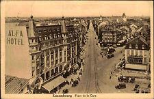 Luxemburg 1936 Alfa Hotel Clesse Place de la Gare Oldtimer div. Retouren-Stempel