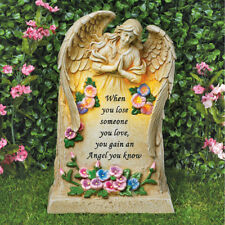 """Solar Lighted """"Loved Ones Lost, Gained An Angel"""" Cemetery Memorial Garden Statue"""