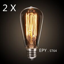 2 X Edison Light Bulb Vintage Industrial Cafe Bar Filament Globe 40w E27 Screw