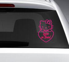 Baby on Board Hello Kitty Heckscheibe AUTO AUFKLEBER Sticker + Baby Wunschnamen