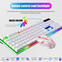 Rainbow Computer Desktop Gaming Keyboard And Mouse Mechanical Feel RGB Led Light