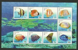 SINGAPORE 2001 TROPICALS MARINE FISHES (LOWER VALUE) SOUVENIR SHEET 9 STAMP MINT