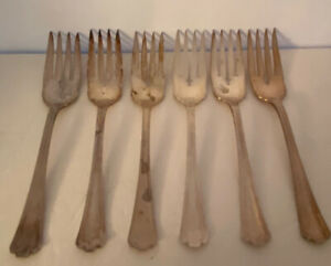 SET 6 SALAD FORKS! Vintage RC Co. silverplate: MANCHESTER pattern: LOVELY!