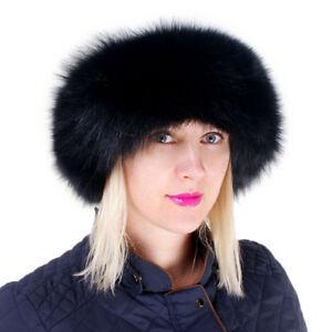 Genuine Black Fox Fur Roller Hat with Sheepskin Top! Winter Ladies Cap Real Fur