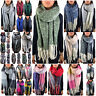 XXL DAMEN WINTER SCHAL DICK STRICKSCHAL KARO HALSTUCH CAPE SCARF PONCHO TOP NEU