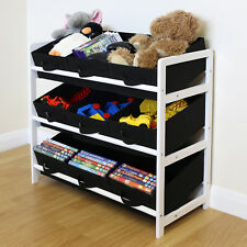 Black & White 3 Tier Toy Unit 9 Canvas Boxes/Drawers Kids/Childrens Storage