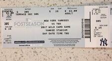 New York Yankees Unused AL Wild Card Ticket Stub 2017