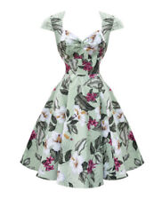 Hell Bunny SzXL 16 Kalei Tropical Floral 50s Vintage Style Dress *worn Once*