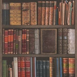 Rasch Library Bookshelf Books Shelves Classic Realistic Effect Wallpaper 934809