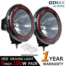 """PAIR 100W 9"""" HID Spotlight Driving Lights Lamp OFF ROAD 4x4 4WD SUV REPLACE 75W"""