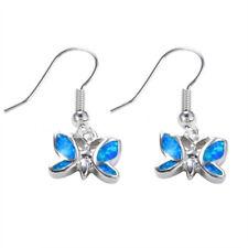 Fashion Jewelry 925 Silver Blue Fire Opal Butterfly Pendant Stud Earrings