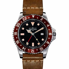 Davosa Vintage-Styled 100-Meter Dual-Time GMT Watch with Leather Band #16250065