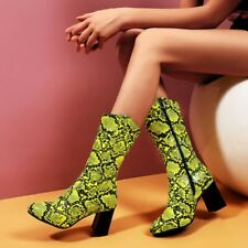 Womens Snakeskin Printed Pointed Toe Mid Calf Riding Boots Block Heels Shoes NEW