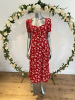 Neon Rose Maxi Dress Size S 8-10 Red Floral Shirred Sleeve Split Front New EZ73