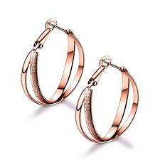 Fashionable Jewellery 18k Rose Gold Filled Quality Women Dangle Hoop Earrings