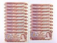 One 1974 Banknote Canada 2 Dollar Uncirculated BX Lawson Bouey Consecutive R845