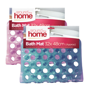 BATH SHOWER MAT NON SLIP PVC BATHROOM RUBBER MATS ANTI SLIP SUCTION 32 X 48CM