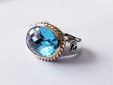 David Yurman 18x13mm Blue Topaz Ring Sterling Silver Size 6 $1450 NWT