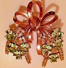 Pennino Rose Gold Vermeil Sterling 1954 Emerald Ruby Rhinestones Brooch Pin